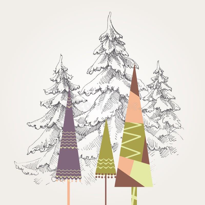 τυποποιημένα δέντρα Χριστ&omi διανυσματική απεικόνιση