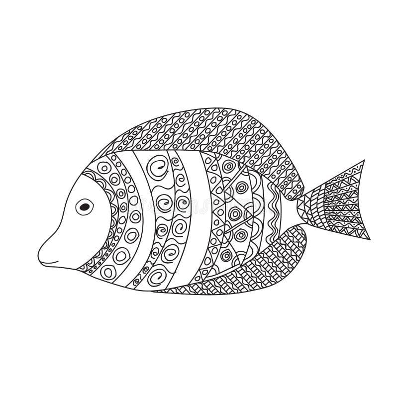 Τυποποιημένα διανυσματικά ψάρια κινούμενων σχεδίων Zentangle απεικόνιση αποθεμάτων