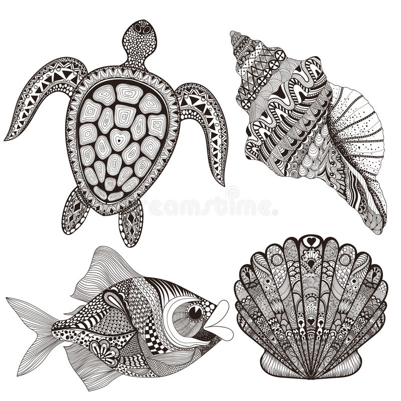 Τυποποιημένα κοχύλια, ψάρια και χελώνα Μαύρης Θάλασσας Zentangle συρμένο χέρι απεικόνιση αποθεμάτων
