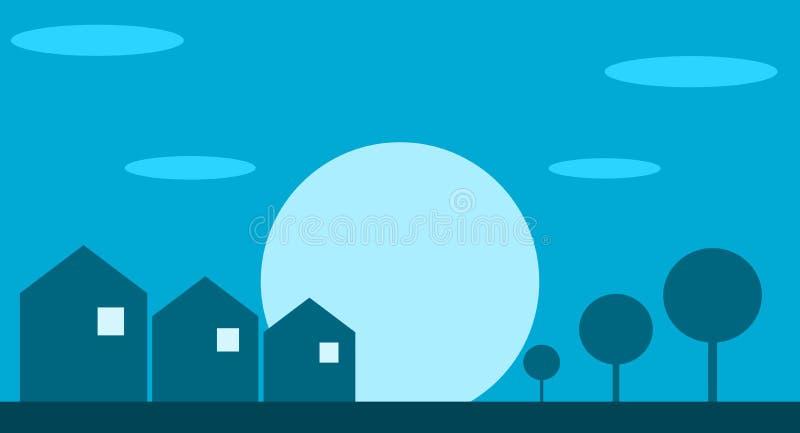 Τυποποιημένα μικρά σπίτια σε ένα λιβάδι ελεύθερη απεικόνιση δικαιώματος