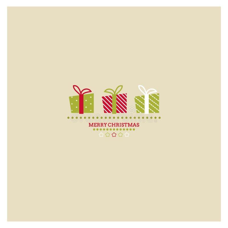 Τυποποιημένα Χριστούγεννα και νέα κάρτα έτους με τις διακοπές  διανυσματική απεικόνιση