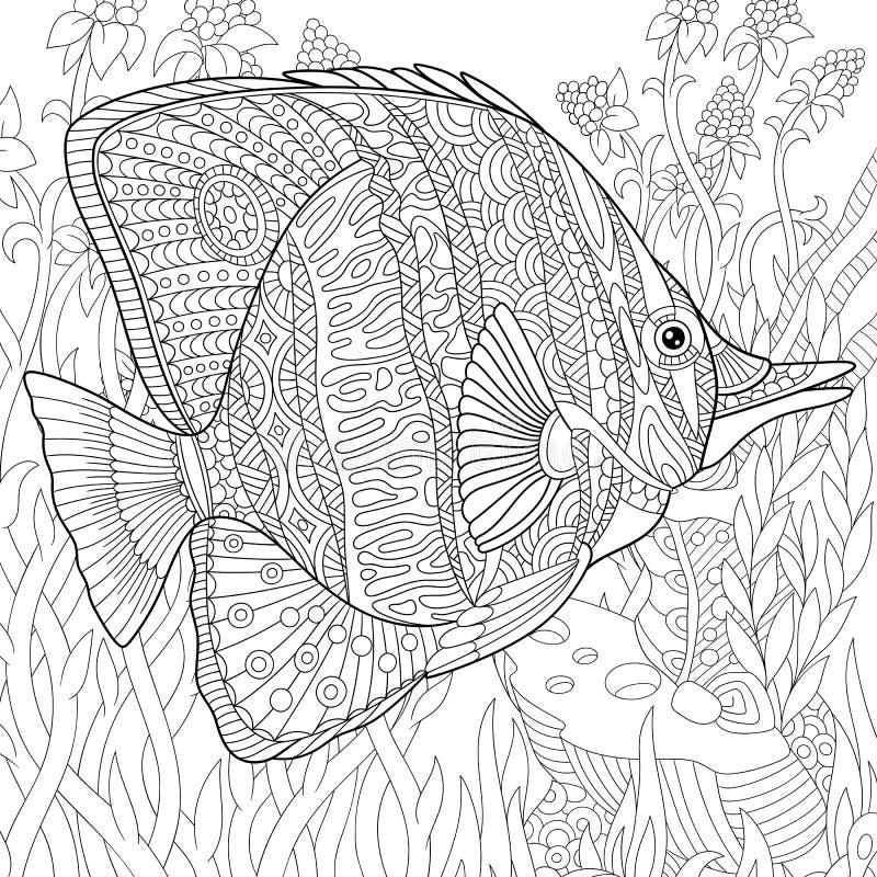 Τυποποιημένα ψάρια πεταλούδων Zentangle διανυσματική απεικόνιση