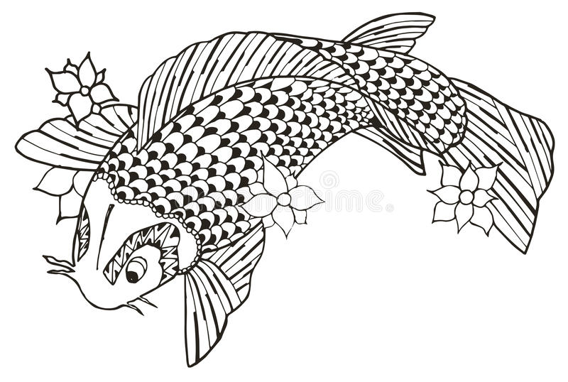 Τυποποιημένα ψάρια koi Zentangle, διάνυσμα, απεικόνιση, ελεύθερο penc ελεύθερη απεικόνιση δικαιώματος