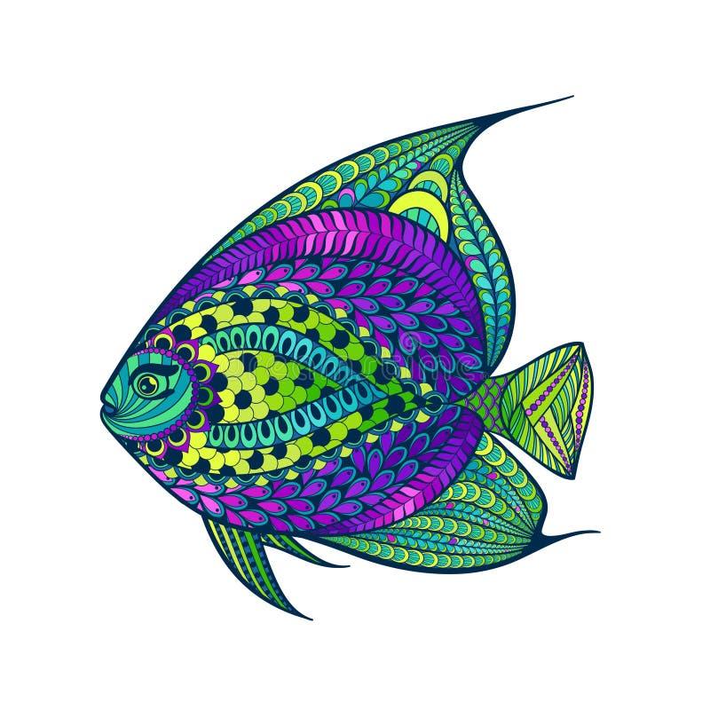 Τυποποιημένα ψάρια Zentangle με το αφηρημένο ζωηρόχρωμο υπόβαθρο απεικόνιση αποθεμάτων