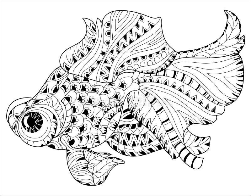 Τυποποιημένα floral ψάρια της Κίνας Zentangle doodle ελεύθερη απεικόνιση δικαιώματος