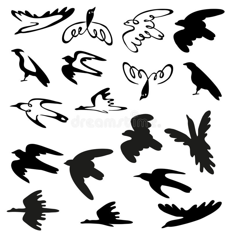 Τυποποιημένες πουλιά και σκιαγραφίες ελεύθερη απεικόνιση δικαιώματος