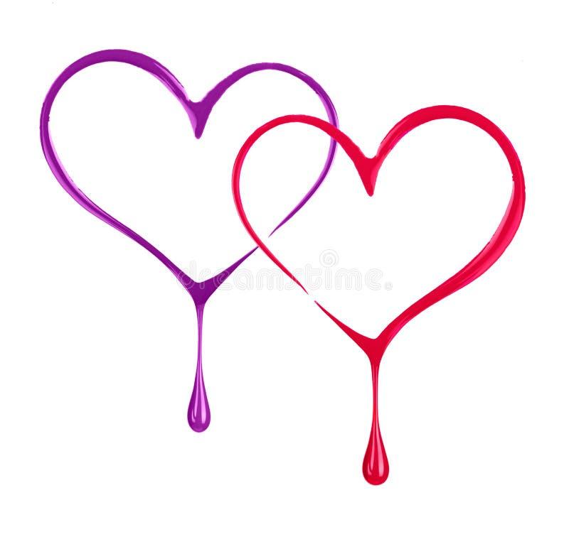 Τυποποιημένες δύο καρδιές με τις πτώσεις που γίνονται με τη στιλβωτική ουσία καρφιών διανυσματική απεικόνιση