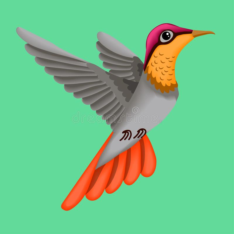 Τυποποιημένη απεικόνιση, εικόνα ενός μικρού πουλιού, κολίβριο απεικόνιση αποθεμάτων