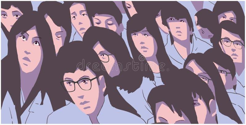 Τυποποιημένη απεικόνιση της μεγάλης ομάδας ασιατικής διαμαρτυρίας σπουδαστών ελεύθερη απεικόνιση δικαιώματος