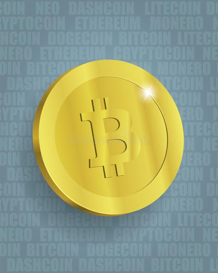 Τυποποιημένη απεικόνιση Bitcoin στο υπόβαθρο σχεδίων κειμένων απεικόνιση αποθεμάτων