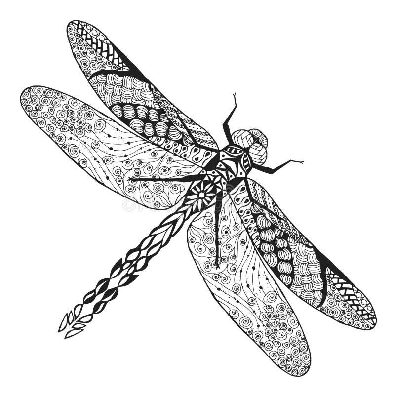 Τυποποιημένη λιβελλούλη Zentangle Σκίτσο για τη δερματοστιξία ή την μπλούζα διανυσματική απεικόνιση