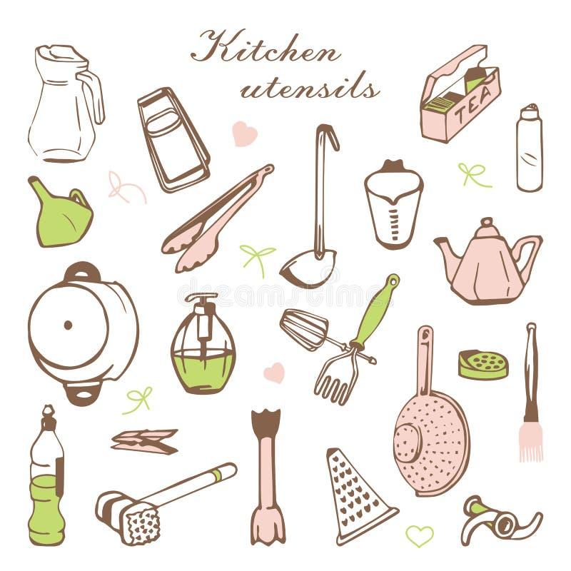 Τυποποιημένη κάρτα με τα ράφια κουζινών και τα μαγειρεύοντας εργαλεία διανυσματική απεικόνιση