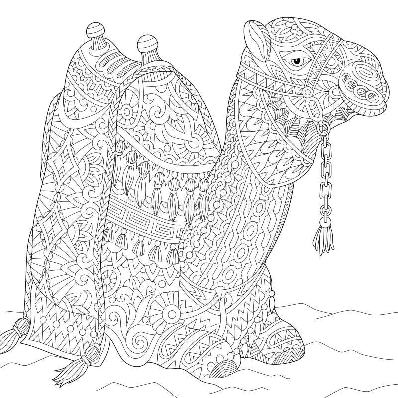 Τυποποιημένη καμήλα Zentangle διανυσματική απεικόνιση