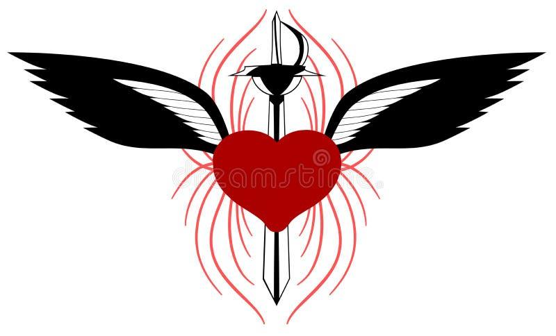 Τυποποιημένη καρδιά με τα φτερά και ξίφος που απομονώνεται διανυσματική απεικόνιση