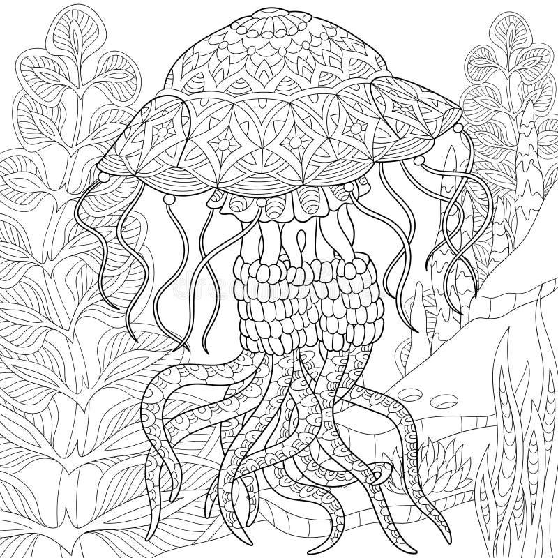 Τυποποιημένη μέδουσα Zentangle διανυσματική απεικόνιση