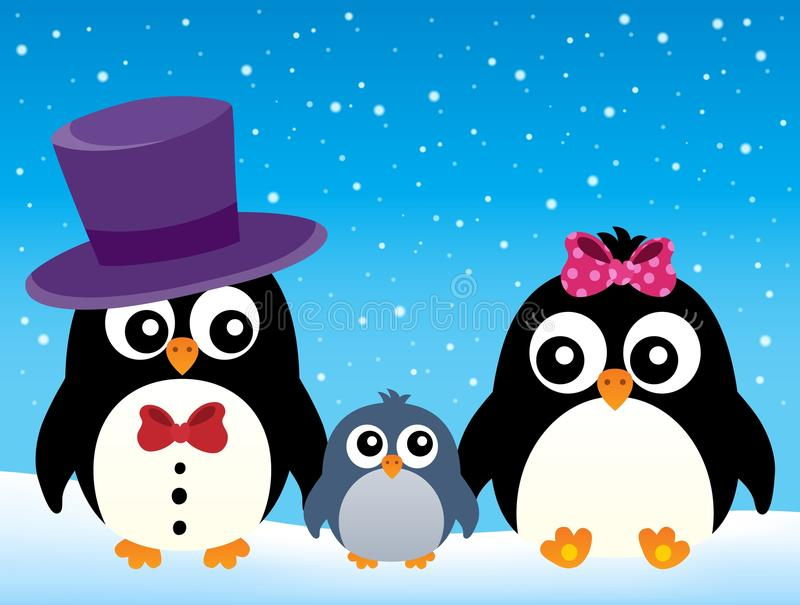 Τυποποιημένη οικογενειακή εικόνα 2 penguin διανυσματική απεικόνιση
