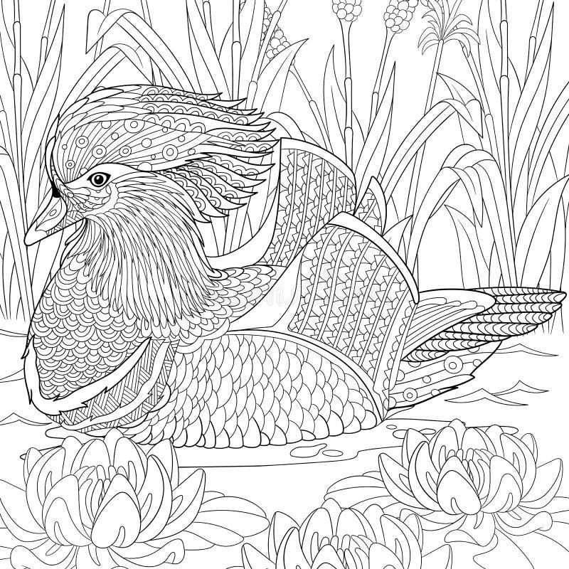 Τυποποιημένη πάπια μανταρινιών Zentangle ελεύθερη απεικόνιση δικαιώματος