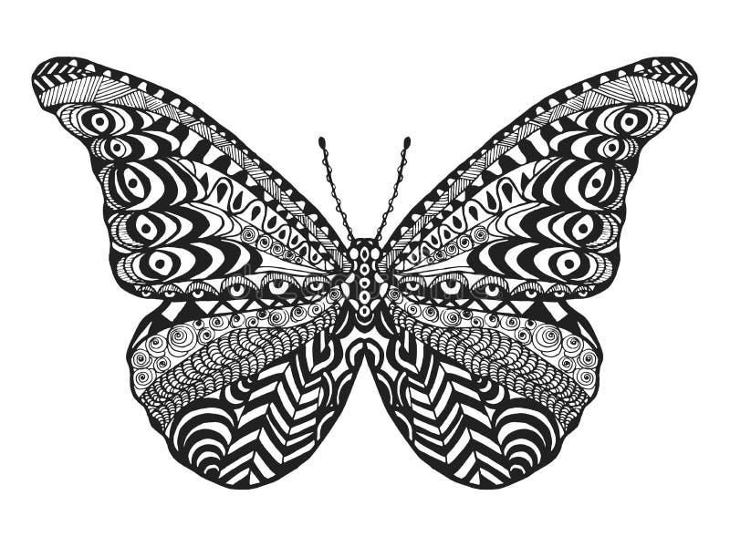 Τυποποιημένη πεταλούδα Zentangle ελεύθερη απεικόνιση δικαιώματος