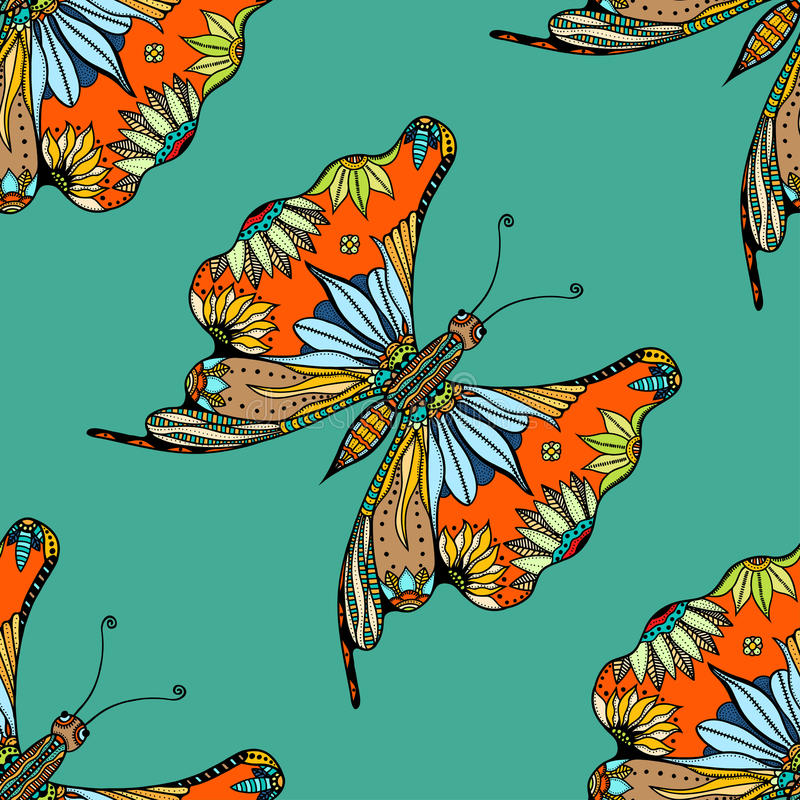 Τυποποιημένη πεταλούδα Zentangle διανυσματική απεικόνιση