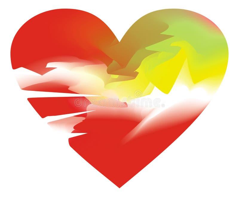 Τυποποιημένη σπασμένη καρδιά, που χρωματίζεται στα ευγενή χρώματα κρητιδογραφιών ελεύθερη απεικόνιση δικαιώματος
