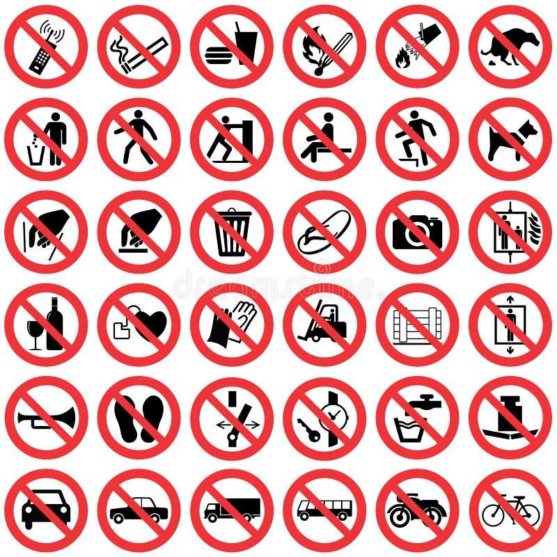 Τυποποιημένη συλλογή σημαδιών απαγόρευσης διανυσματική απεικόνιση