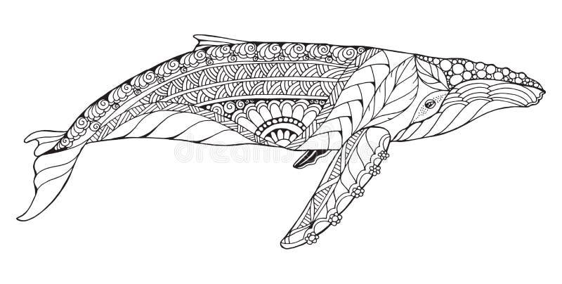 Τυποποιημένη φάλαινα humpback Zentangle Διάνυσμα, απεικόνιση, freehan ελεύθερη απεικόνιση δικαιώματος