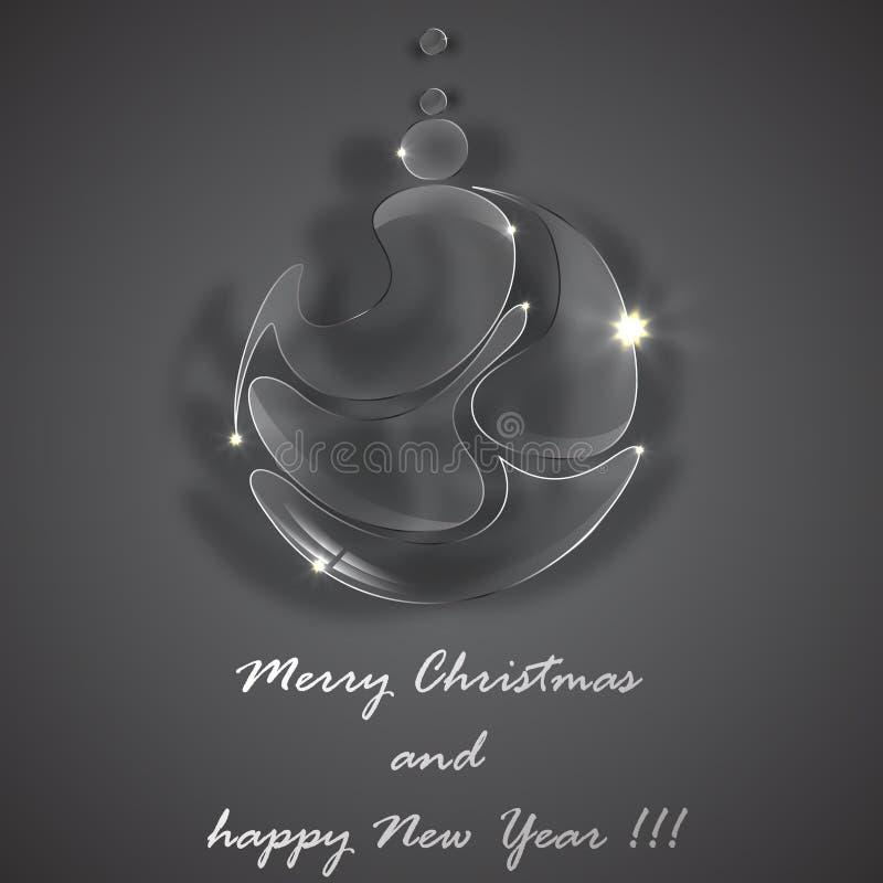 Τυποποιημένη όμορφη σφαίρα γυαλιού Χριστουγέννων διανυσματική απεικόνιση