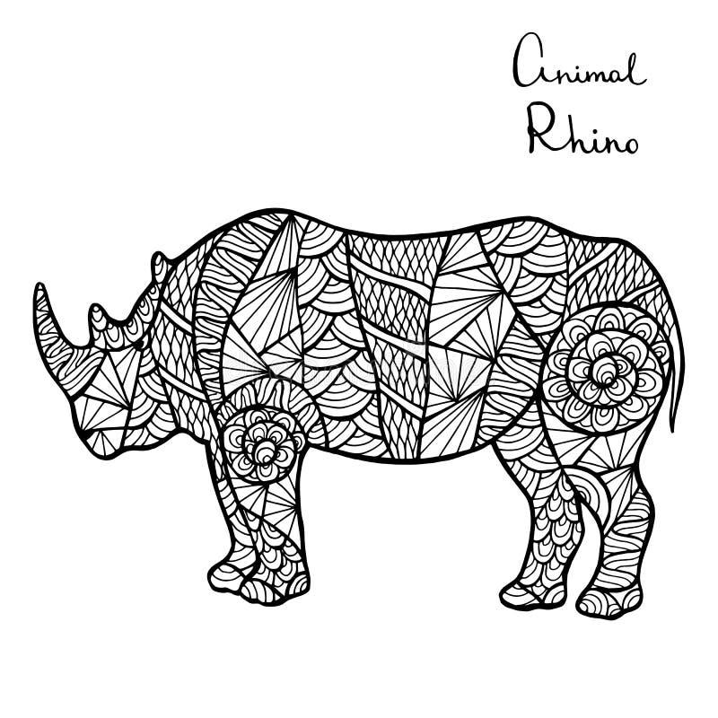 Τυποποιημένος διανυσματικός ρινόκερος, zentangle απομονωμένος στο άσπρο υπόβαθρο ελεύθερη απεικόνιση δικαιώματος