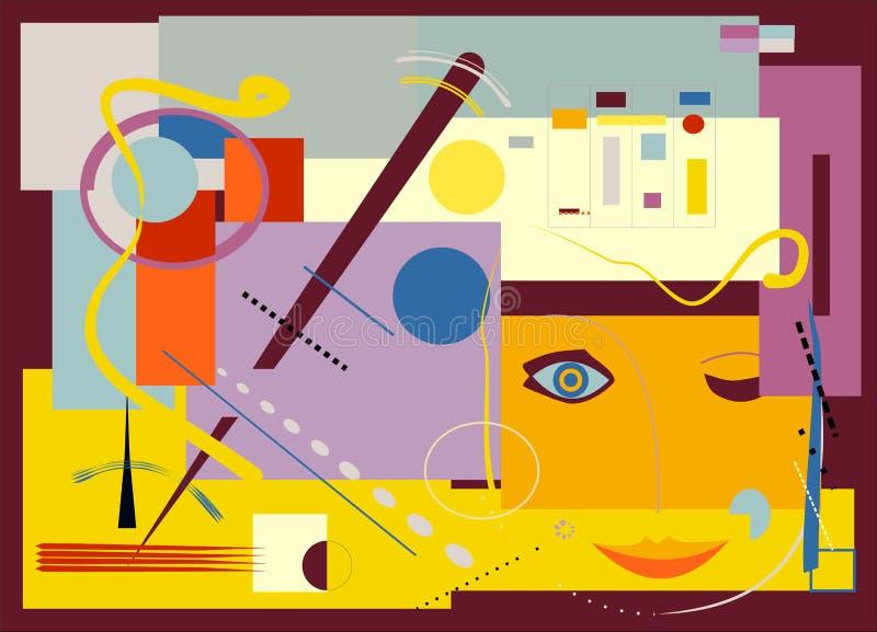 Τυποποιημένος κλείστε το μάτι, στο κίτρινο expressionism υποβάθρου ύφος τέχνης - 18 - 114 απεικόνιση αποθεμάτων