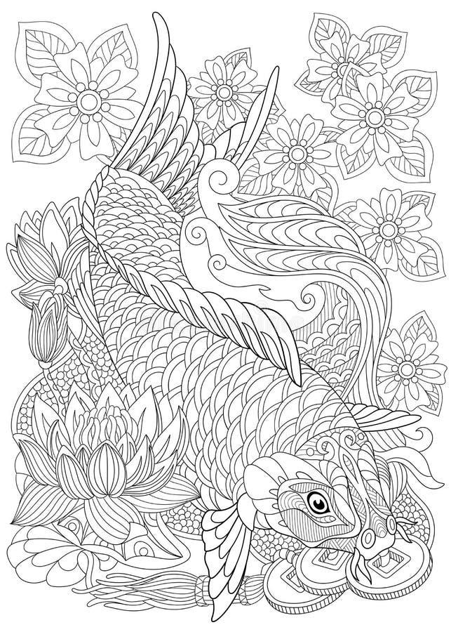Τυποποιημένος κυπρίνος koi Zentangle απεικόνιση αποθεμάτων