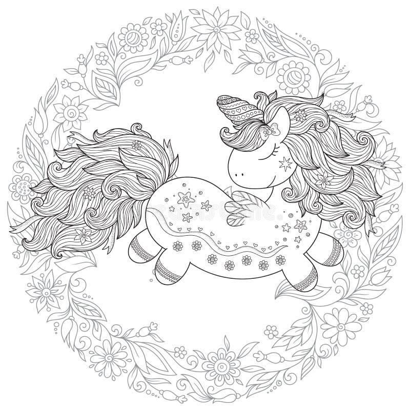 Τυποποιημένος μονόκερος κινούμενων σχεδίων Zentangle που απομονώνεται στο άσπρο υπόβαθρο  απεικόνιση αποθεμάτων