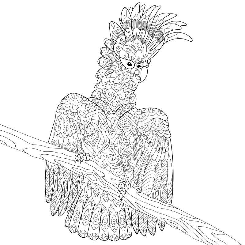 Τυποποιημένος παπαγάλος cockatoo Zentangle διανυσματική απεικόνιση