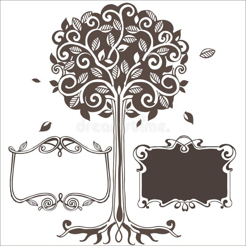 Τυποποιημένο δέντρο με τα πλαίσια επίσης corel σύρετε το διάνυσμα απεικόνισης απεικόνιση αποθεμάτων