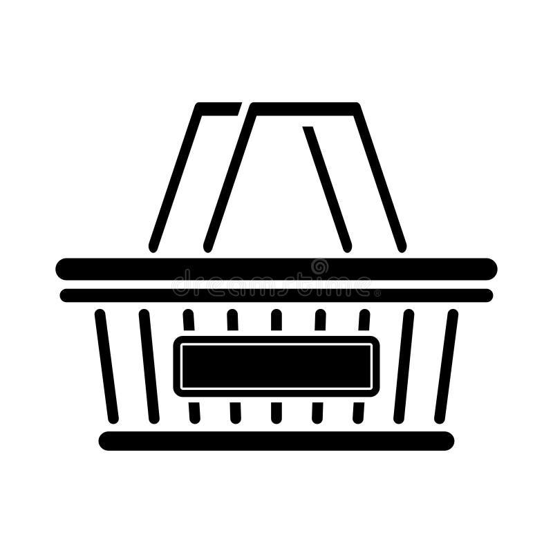 Τυποποιημένο εικονίδιο καλαθιών αγορών Καλάθι παντοπωλείων λογότυπων απεικόνιση αποθεμάτων