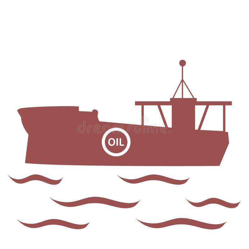 Τυποποιημένο εικονίδιο του βυτιοφόρου του πετρελαίου που επιπλέει στα κύματα ελεύθερη απεικόνιση δικαιώματος