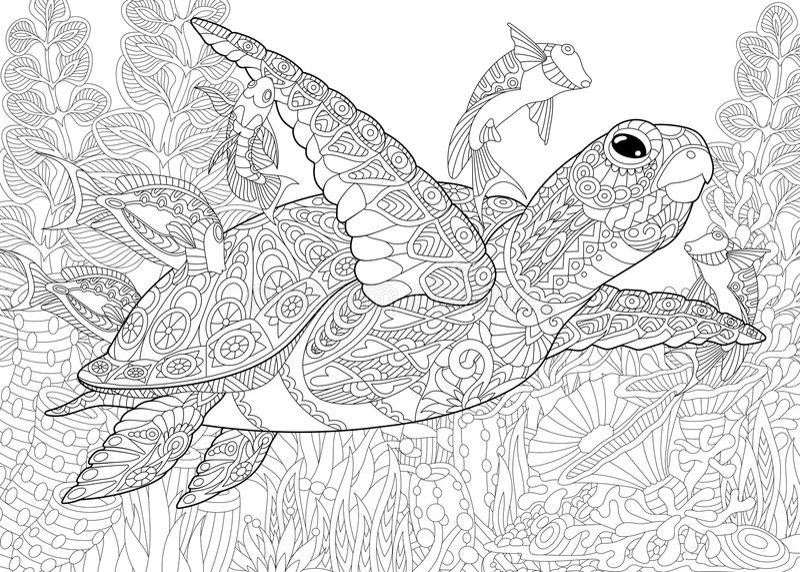 Τυποποιημένο ενυδρείο Zentangle διανυσματική απεικόνιση