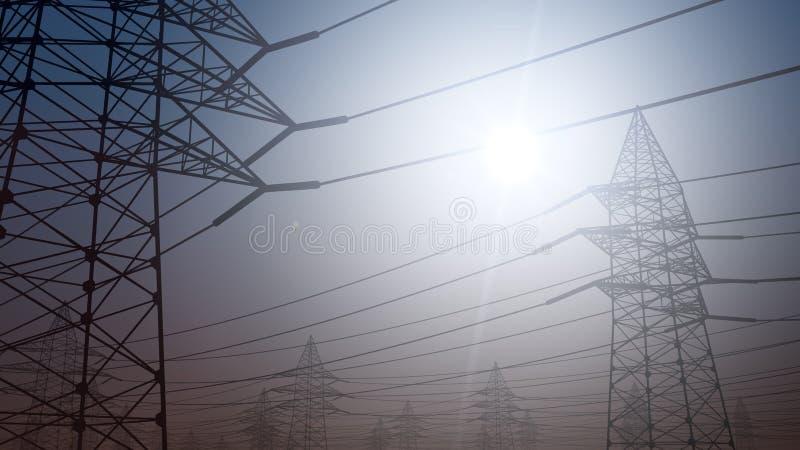 Τυποποιημένο ηλεκτροφόρο καλώδιο ενάντια στο σαφή ουρανό τρισδιάστατη απόδοση στοκ φωτογραφίες με δικαίωμα ελεύθερης χρήσης