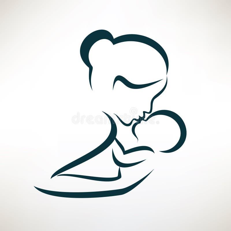 Τυποποιημένο διανυσματικό σύμβολο μητέρων και μωρών διανυσματική απεικόνιση
