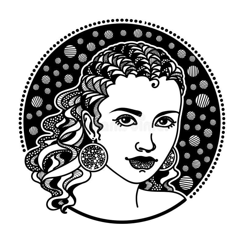 Τυποποιημένο κορίτσι Zentangle διανυσματική απεικόνιση