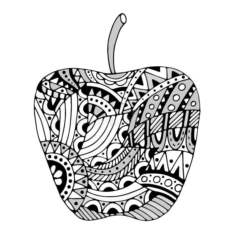 Τυποποιημένο μήλο Zentangle απεικόνιση αποθεμάτων