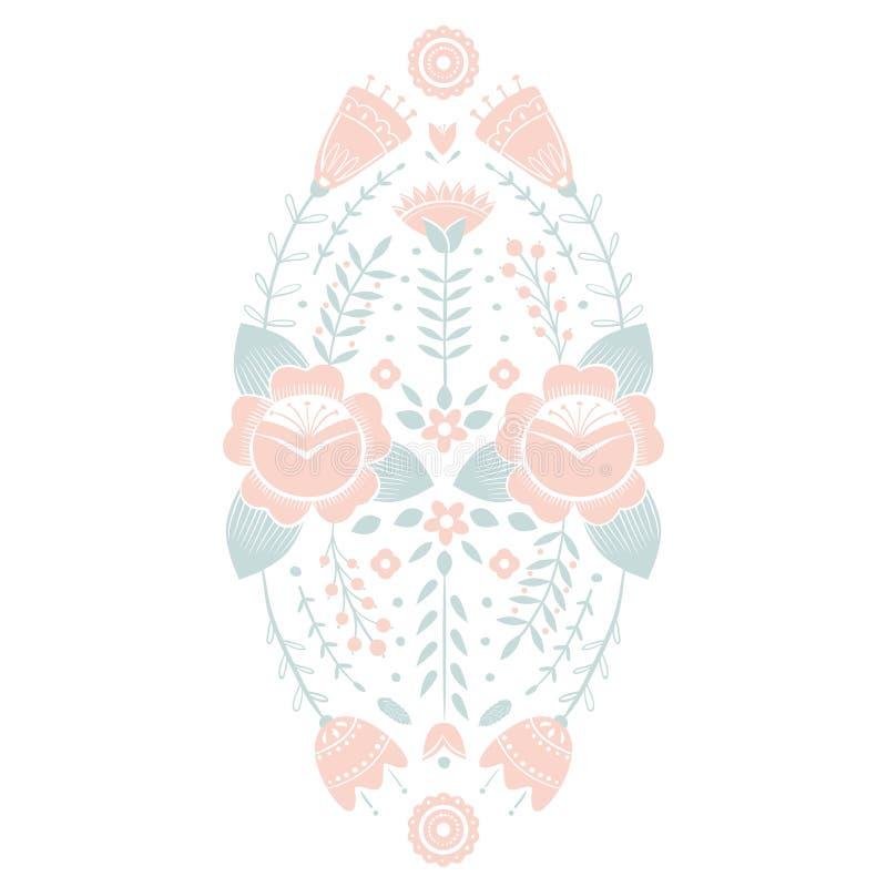 Τυποποιημένο σχέδιο, λαϊκή τέχνη, floral διακόσμηση στα κόκκινα και πράσινα χρώματα Συμμετρικό διανυσματικό υπόβαθρο σχεδίων Ροζ  ελεύθερη απεικόνιση δικαιώματος
