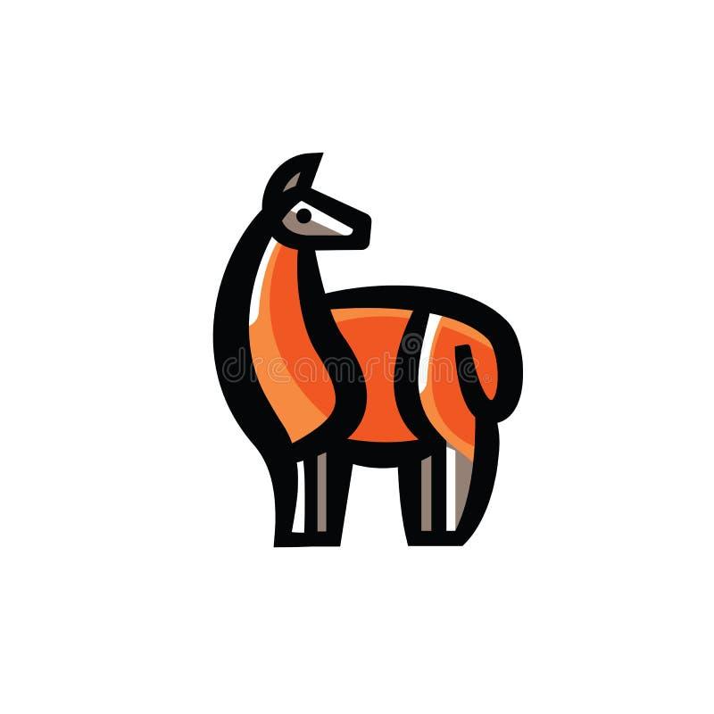 Τυποποιημένο σχέδιο χρώματος της μόνιμης χαριτωμένης προβατοκαμήλου διανυσματική απεικόνιση