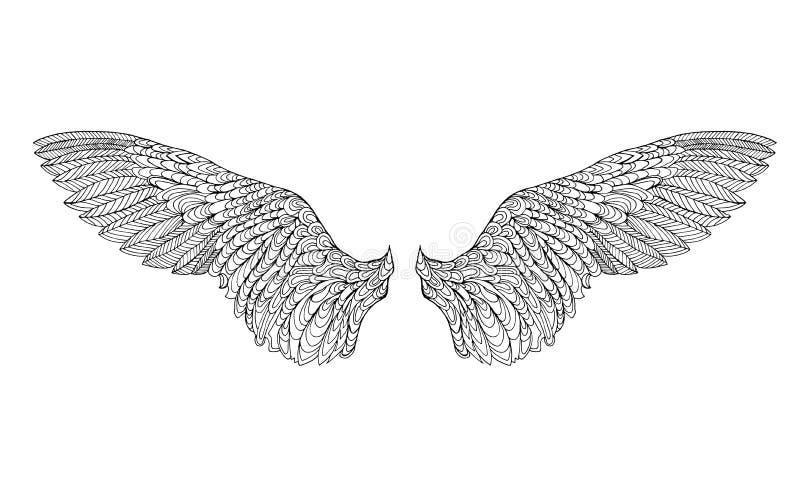 Τυποποιημένο φτερό Zentangle Σκίτσο για τη δερματοστιξία ή την μπλούζα ελεύθερη απεικόνιση δικαιώματος