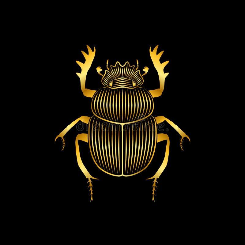 Τυποποιημένο χρυσό scarab στο μαύρο υπόβαθρο ελεύθερη απεικόνιση δικαιώματος