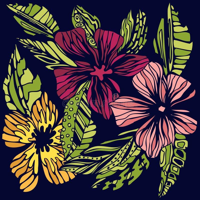 Τυποποιημένο χρωματισμένο σκίτσο λουλουδιών ελεύθερη απεικόνιση δικαιώματος
