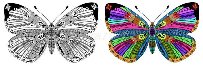 Τυποποιημένο χρώμα Zentangle και μαύρη πεταλούδα διανυσματική απεικόνιση