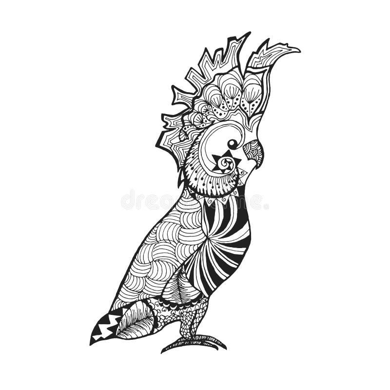 Τυποποιημένο cockatoo Zentangle Σκίτσο για τη δερματοστιξία ή την μπλούζα διανυσματική απεικόνιση