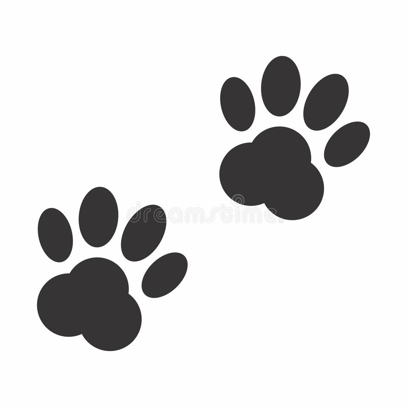 Τυπωμένες ύλες ποδιών της γάτας ή του σκυλιού ελεύθερη απεικόνιση δικαιώματος
