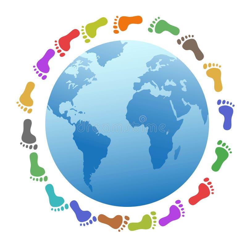 Τυπωμένες ύλες ποδιών χρώματος γύρω από τη γη ελεύθερη απεικόνιση δικαιώματος