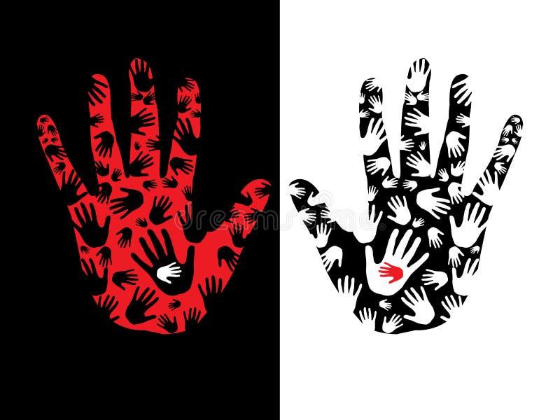τυπωμένες ύλες χεριών διανυσματική απεικόνιση